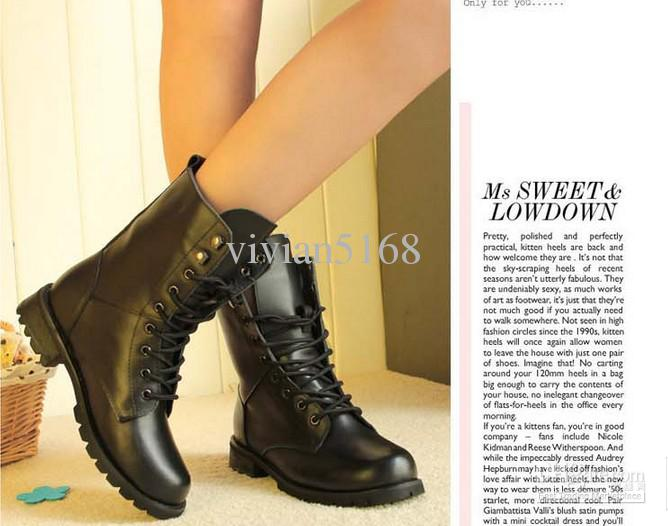 2013 Leather motorcycle boots thick lace-up Europe United States knight Martin female autumn winter