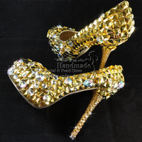 Wholesale Gold Wedding Shoes Unique Design handmade Gold Crystal Metal Spikes High Heel platform Evening Shoes for Wedding Bridal party