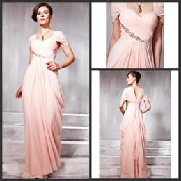 Free Shipping A Line Sweetheart Floor Length Pink Chiffon Short Sleeve Evening Dresses Beads Pleated Modest Prom Dresses Sexy Evening Gowns