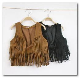 Wholesale fashion new children autumn vest girls tassels Waistcoats kids brown black vest outwear branded children costumes