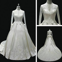 2012 - Real Samples Princess A line V neck Kate Middleton Cathedral Train Long Sleeves White Royal Wedding Dresses Bridal Gowns