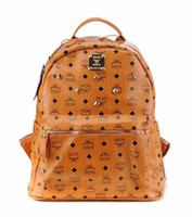 Wholesale Hot sale MCM stark backpack Fashion casual print handbags stone yellow Factory direct sales