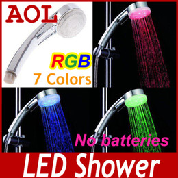 Wholesale LED Temperature Control Color Lights amp Colors flashing jump change Shower Head bath room faucet xmas gift AS1306