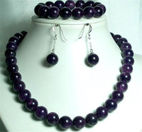 Wholesale Set Beautiful Jewelry Chinese Black mm Beads Jade Necklace amp Bracelet amp earrings