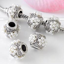 100pcs White Imitate Faux Pearl Barrel Silvery European Bead Fit Charms Bracelet
