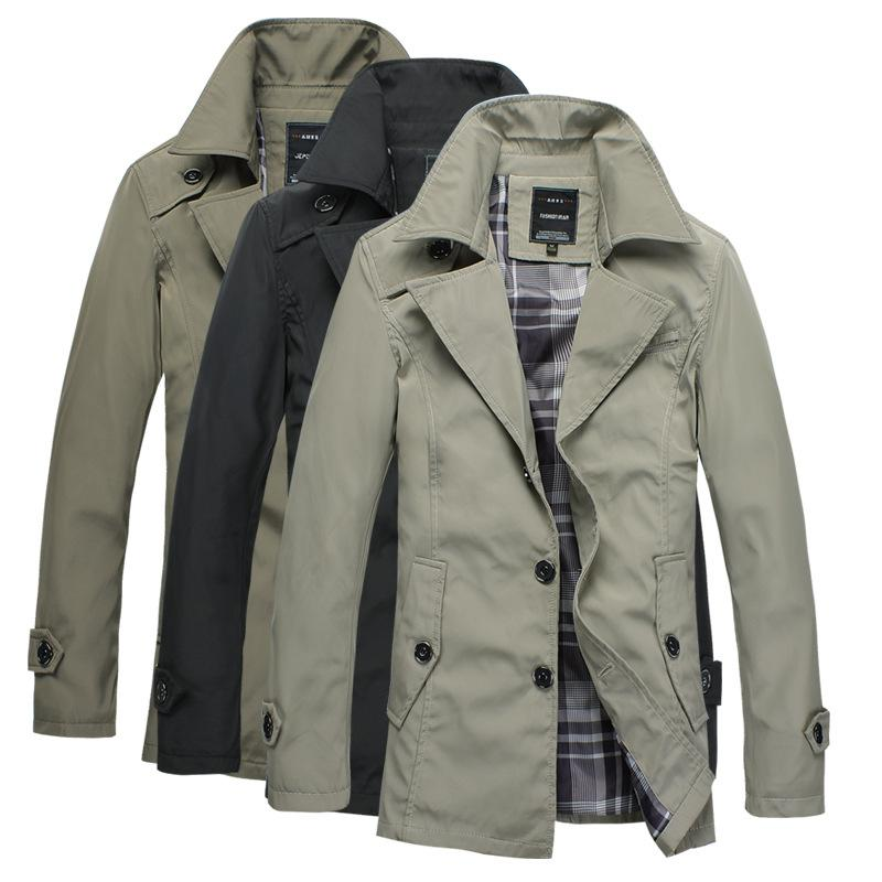 Dark light Khaki black Men's Jacket Coat Men's Slim Personalized ...
