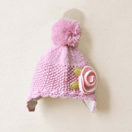 Wholesale Girls Cute Pink Princess Cap Kids Warm Cap Baby Crochet Hats Children s Autumn And Winter Caps Fashion Beanie Knit Hat Patterns Wool Cap