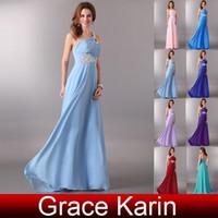 Wholesale High Quality Stock Beading One Shoulder Empire Chiffon Long Wedding Bridesmaid Dress CL2949