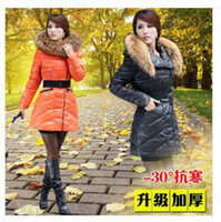 Wholesale TOP quality Winter Coat Jacket Women s down Long Jacket With Racoon Dog Fur Collar grade platinum Duck Down with hat Y112