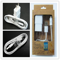 Wholesale 2in1 Cable Charger Micro USB Sync Cables US EU Wall Home Travel Chargers Adapter Samsung Galaxy S3 S4 S5 Note Retail Package Free DHL
