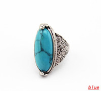 Wholesale Vintage Oval Turquoise Tibetan Silver Ring Colors Carving Big Cat s Eye Shape Sizes VR