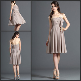 Simple Cheap Bridesmaid Dresses Knee Length Dress with Free Shipping