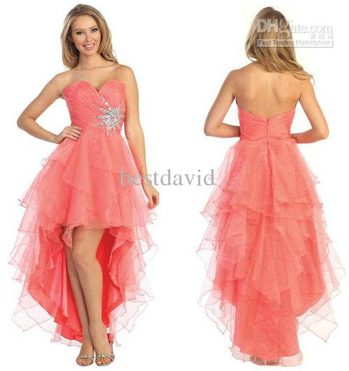 Cheap Coral High Low Layered Ruffle Prom Dress With Beading ...