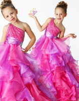 Reference Images Girl Beads 2013 Girls Pageant Dresses One Shoulder Beaded Ruffles little flower girl dresses Floor Length Ball Gowns