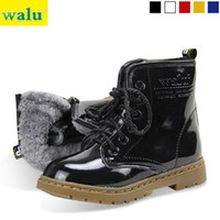 Wholesale Children Shoes Patent Leather Kids Snow Boots Pumps Cotton Padded Shoes Martin Boots Black Blue Red Yellow