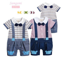 Girl Summer 100% Cotton Free Shipping Summer Baby Boys Bow Tie Gentleman Suspender Trousers Overalls Striped Romper Children Jumpsuits Infant Toddlers Kids Clothing
