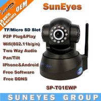 Cheap SunEyes P2P Plug and Play Wireless IP Camera With TF Micro SD Memory Card Slot Support Check SD Card Video from Andorid Iphone App SP-T01EWP