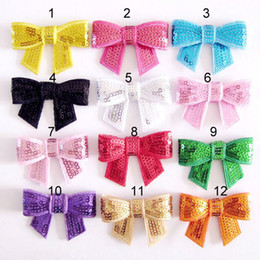 Bowknot Flower For Baby Headbands Girls Corsage Flower Hair Accessories Sequins bow Flowers DIY Photography props free shipping Trial Order