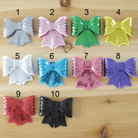 Wholesale Bowknot Flower For Baby Headbands Girls Corsage Flower Hair Accessories Glitter Sequin Embroidery Big bow Flowers DIY Photography props