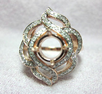 Women's rose gold ring semi mount round - 6 MM ROUND SOLID K ROSE GOLD NATURAL DIAMOND SEMI MOUNT SETTING WEDDING RING