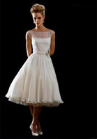 Wholesale 2013 Designer Custom Made A line Bateau Pleat Belt Tea Length Wedding Dresses Bride Dress Online