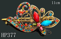 Wholesale Women s vintage zinc alloy rhinestone Butterfly hair clips Hair Accessories Mixed colors HP377