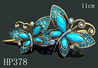 Wholesale Hot Sale vintage hair jewelry zinc alloy rhinestone Butterfly hair clips Hair Accessories Mixed colors HP378
