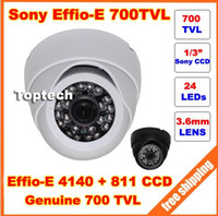 Indoor CCD  free shipping 1 3'' Sony CCD Effio-E 700tvl 24leds IR indoor HD 960H Security CCTV dome camera surveillance camera