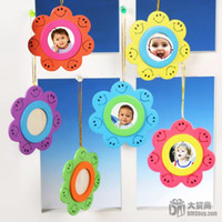 Wood Raining Umbrellas Christmas promotion-- little lovely smile-face photo frame, picture frame 6colors + free ship