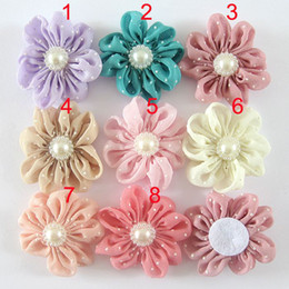 Dot Chiffon Handmade Cloth Flower DIY accessories Flowers For Baby Headbands Girls Pearl Flower Hair Accessories DIY Photography props
