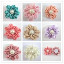 Dot Chiffon Handmade Cloth Flower DIY accessories Flowers For Baby Headbands Girls Pearl Flower Hair Accessories DIY Photography props 60pcs