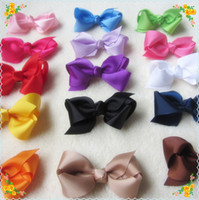 Wholesale 15 colors Nice Girls Baby cm Length Ribbon Bows with Clips Children Grosgrain Bowknot Hair clips Girls Hair Accessories Kids Barrettes