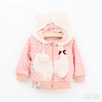 Girl Spring / Autumn  Wholesale - Girls Cute Cartoon Hoodie Child Clothing Polka Dot Hooded Coat Kids Sweatshirts Long Sleeve Coat Baby Clothes Children Hoodie Sw
