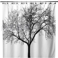 Wholesale Big Black Scenery Tree Design Bathroom Waterproof Fabric Shower Curtain NEW