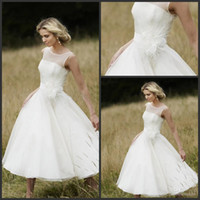 Wholesale Vintage s Iris white Tea Length Short Sleeve short wedding dresses