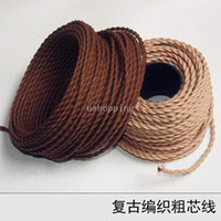 Wholesale Vintage knitted electrical wire copper pendant light coarse wire vintage lamp diy lighting accessories chromophous circled roll
