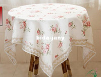 Wholesale floral fabric cheap beautiful round table cloth