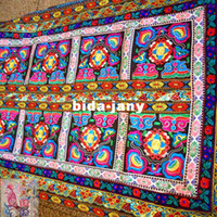 Wholesale Hmong Embroidery Rectangle Tablecloth Yunnan Hand Woven Fabric Embroidered Tablecloth Handmade Gift