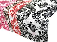 Wholesale 100 Polyester Baroque Flocking Taffeta Table Runner