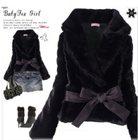 Wholesale 1 Piece Women Korean Style Short Belted Faux Fur Rabbit Hair Coat Free Size Black Beige Gray Colors FWO101010