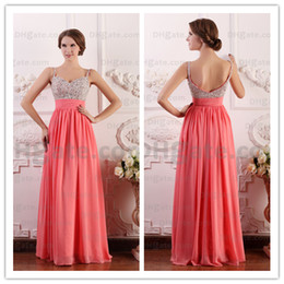 Elegant Real Image Evening Dresses Beading Ruched A-Line Spaghetti Straps Floor Length Cheap Chiffon Evening Dresses