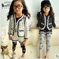 Wholesale New Arrival Childrens Outfit Plaid Jacket And Lace Shorts Pieces Set Korean Style Girls Autumn Set