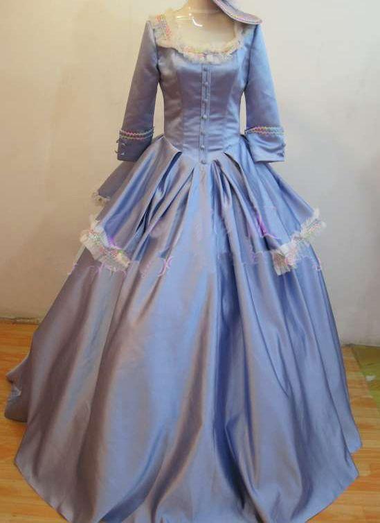 Light Blue Medieval Dress Renaissance Lace Gown Queen Costume ...