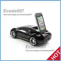 Wholesale HOT Car Shaped Music Player Speaker FM Radio Subwoofer Stand Dock TF Card Plug On Play MM Audio Jack Devices for Apple iPhone S