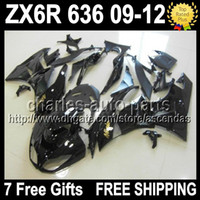 7gifts Fairings For KAWASAKI 09- 12 NINJA ZX6R ALL Black ZX- 6...