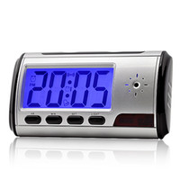 Wholesale New Digital Alarm Clock Mini Spy DV DVR Motion detection Hidden Camera Remote Control SC51BP