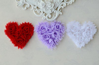 Wholesale 3 quot Shabby Chic Chiffon Rosette Hearts colors Heart for headbands or Hair Accessories FL1007