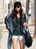 Wholesale Fashion Women Lady Denim Trench Casual Special Design Hoodies Outwears Blue Vintage Jackets Wears Clothing B1676