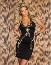 Las mujeres atractivas de oro en Línea-Atractiva del club de los vestidos de lentejuelas para las mujeres con cuello en V exótico hoja de oro de diseño de moda vestido más el tamaño de Clubwear Negro CB9485