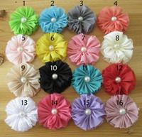 Wholesale Candy colored Handmade Chiffon Fabric Flower with pearl DIY accessories Flowers Girl Headbands Flower Hair Accessories DIY Photography props